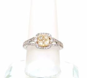 18K White Gold Yellow And White Diamond Ring 11005250
