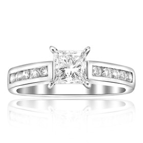 14K White Gold GIA Certified Princess Cut Diamond Engagement Ring 11005275