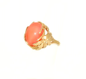 14K Yellow Gold Coral Ring 12002490