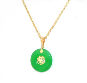 14K Yellow Gold Natural Jade Dyed Circle Pendant 52001757