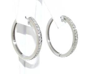 14K White Gold Diamond Hoop Earrings 41002042