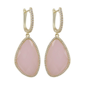 Gold Plated Sterling Silver Rose Quartz Semi Precious Faceted Stone Lever Back Earrings 84010366