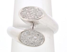 18K White Gold Diamond Bypass Design Ring 11004064