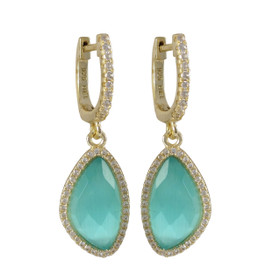 Gold Plated Sterling Silver Aqua Cat's Eye Semi Precious Faceted Stone, With CZ Border Lever Back Earrings 84010376