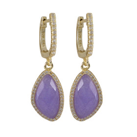 Gold Plated Sterling Silver Lavender Jade Semi Precious Faceted Stone, With CZ Border Lever Back Earrings 84010377