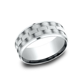 14K White Gold 8mm Wedding Band 10017098