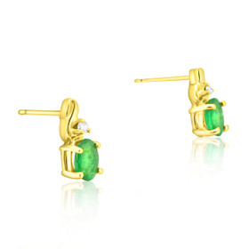 14K Yellow Gold Diamond and 1ct Emerald Oval Stud Earrings 42002668