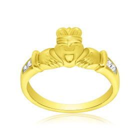 14K Yellow Gold Diamond Claddagh Ring