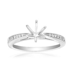 14K White Gold 0.20 ct Diamond Engagement Ring 6 Prong Setting
