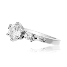 14K White Gold EGL Certified .76 ct. Diamond Engagement Ring