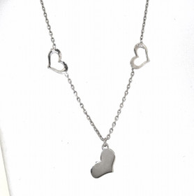 "Sterling Silver  16"" Three Hearts Necklace 83010612"