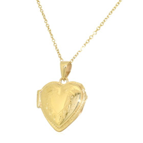 14K Yellow Gold Diamond Cut Heart Locket Charm