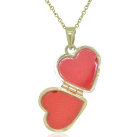 14K Yellow Gold Diamond Cut Heart Locket Pendant 50003048