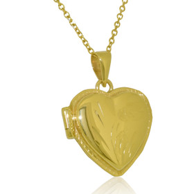 14K Yellow Gold Diamond Cut Heart Locket Pendant 50003047