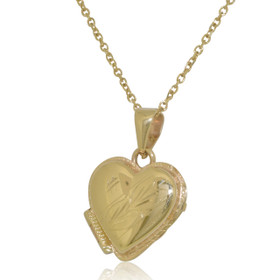 14K Yellow Gold Diamond Cut Heart Locket Pendant 50003049