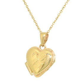 14K Yellow Gold Diamond Cut Heart Locket Pendant 50003058