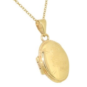 14K Yellow Gold Diamond Cut Oval Locket Pendant 50003061