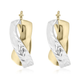 14K Two Tone Gold Hoop Earrings 40002218