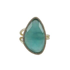 Gold Plated Sterling Silver Aqua Cat's Eye Semi Precious Faceted Stone Ring With CZ Border 81010461