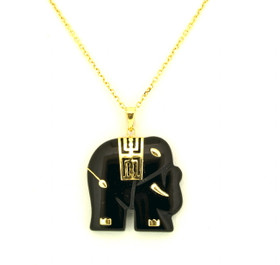 14K Yellow Gold Onyx Elephant Charm 52001335