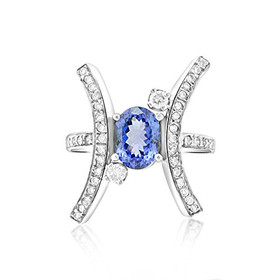 14K White Gold Tanzanite/Diamond Ring 12000514