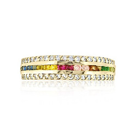 14K Yellow Gold Multi-Color Sapphire and Diamond Ring 12002506