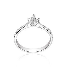 14k White Gold 0.1 ct Diamond 4 Prong Engagement Ring Setting