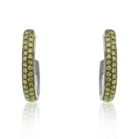 10K White Gold Champagne Diamond Oval Earrings 49110007