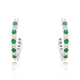 14K White Gold Emerald and Diamond Earrings 42002673