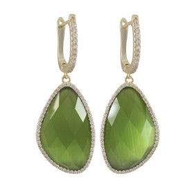 Gold Plated Sterling Silver Olive Cat's Eye Semi Precious Faceted Stone,With CZ Border Lever Back Earrings 84010383