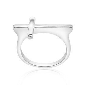 14k White Gold Cross Ring 10017108