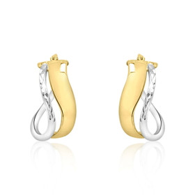 14K White And Yellow Gold Fancy Hoop Earrings 40002217