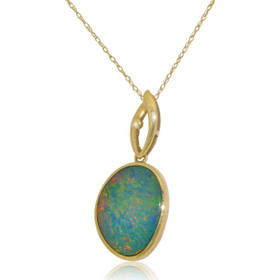 14K Yellow Gold Firey Blue Opal Charm 52001818