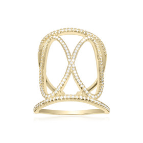 Silver Gold Plated CZ Fancy Infinity Design Ring 81010442