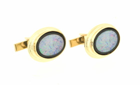 14K Yellow Gold Mens Oval Shape Opal Onyx Cufflinks  89910076