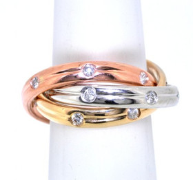 18K Pink White And Yellow Gold Diamond Puzzle Ring 11003856