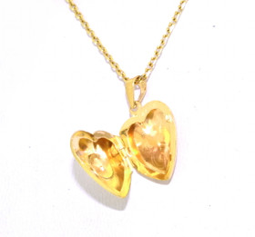 14K Yellow Gold Diamond Heart Locket Charm 51001734