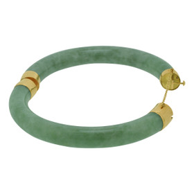 14K Yellow Gold Plain Green Jade Bangle 24000032