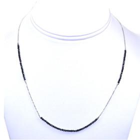 "14k White Gold & 18"" Black Diamond Necklace"