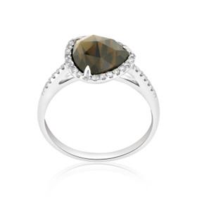 14K White Gold Smoky Topaz/Diamond Ring