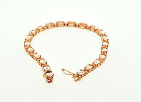 14K Pink Gold Morganite and Diamond Fancy Bracelet