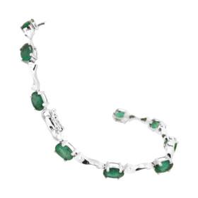 14K White Gold Diamond/Emerald Bracelet 22000701