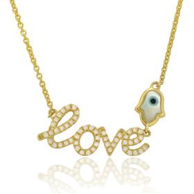 14K Yellow Gold Diamond Love Evil Eye Necklace