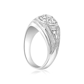 14K White Gold Diamond Men's Ring 11002962