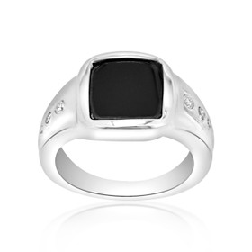 14K White Gold Onyx/Diamond Men's Ring 12001401