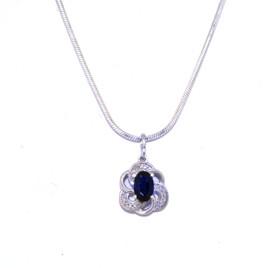 14K White Gold Sapphire/Diamond Oval Pendant