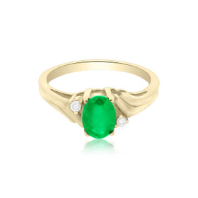 14K Yellow Gold Emerald/Diamond Ring 12000870