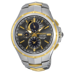 Seiko Coutura Solar Perpetual Chronograph Two Tone Mens Watch SSC376 61100582