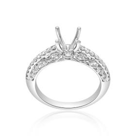 18K White Gold Fancy Diamond Engagement Ring Setting