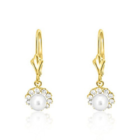 14K Yellow Gold Pearl/CZ Lever Back Earrings 42002704